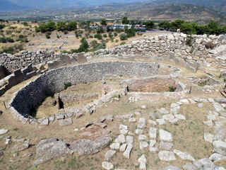 Europe, Greece, Mycenae, top view of the settlement  center. Once upon a time there lived great rulers.