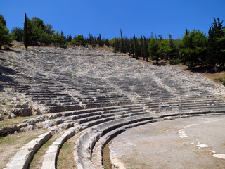 Europe, Greece, Argos, ancient amphitheater.  This building was built 2500 years ago.