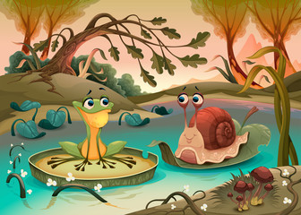 Friendship between frog and snail.