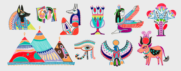 set of marker sketch drawing of egyptian mythological elements