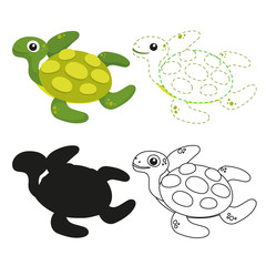 turtle worksheet vector design