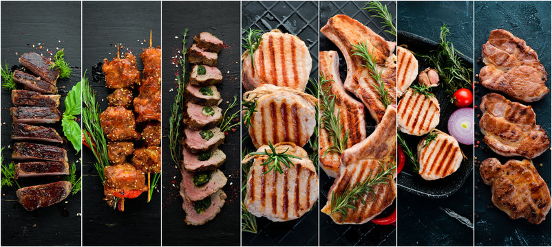 Collage. Steak and meat on a black background. Top view.