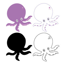 octopus worksheet vector design