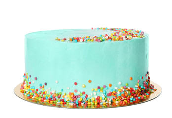 Fresh delicious birthday cake on white background