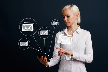 Business email Marketing concept virtual on phone.