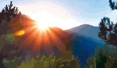 Paesaggio naturale con sole sulle montagne al tramonto