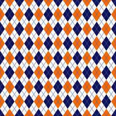 Orange and Navy Argyle Seamless Pattern - Orange, white, and navy blue argyle design