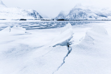 Norway, Lofoten Islands. Landscape in winter, ice lake