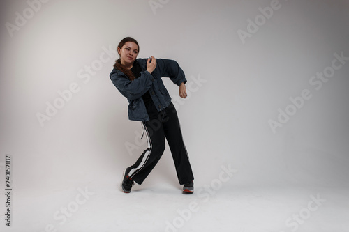 Attractive Cute Young Woman Dancer With Brown Long Hair In Trendy
