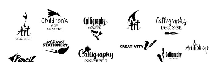 Art classes lettering logo design set. Calligraphy school, masters, craft shop logo with hand, calligraphic fonts. Black metal laser cut collection. Art and creativity logotype. Isolated vector
