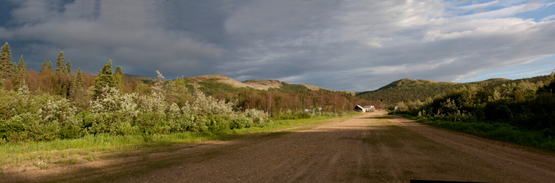 Panorama of remote  Alaskan airstrip in village