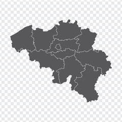 Blank map Belgium. High quality map Belgium with provinces on transparent background for your web site design, logo, app, UI. Stock vector. Vector illustration EPS10.