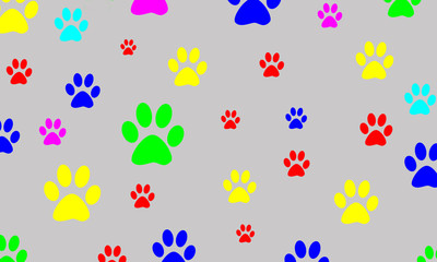 Colored prints of the animal's paws