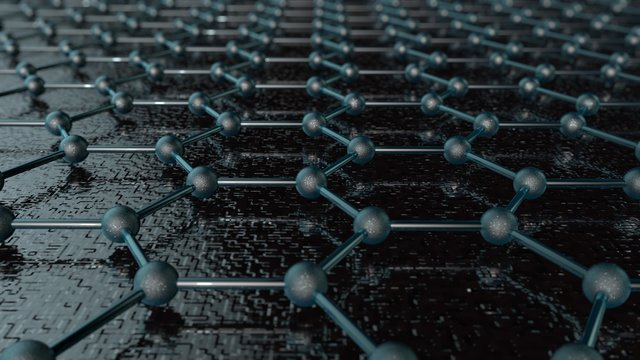 3D illustration of a crystal lattice of graphene, carbon molecule, superconductor of the future on a dark background. Abstraction, background, idea of nanotechnologies of the future, 3D rendering