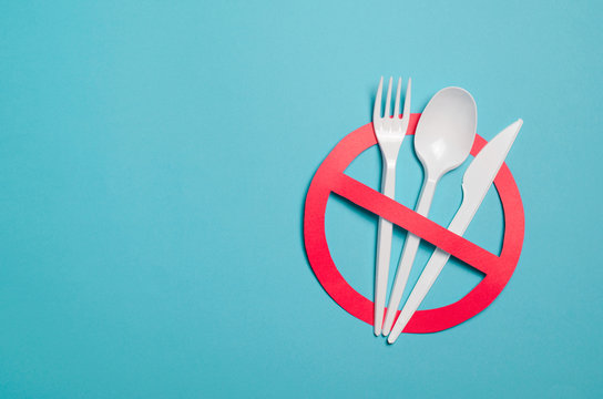 Say No to Plastic Cutlery, Plastic Pollution Concept, Top View