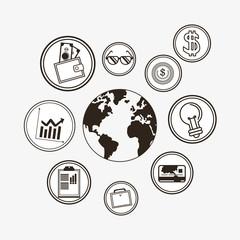economy related icons line design image