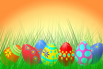 set of colored Easter eggs on a Sunny dawn background