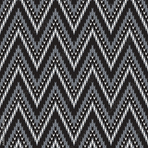 knitted seamless monochrome pattern with chevron