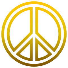 Peace symbol icon - golden simple outlined gradient, isolated - vector