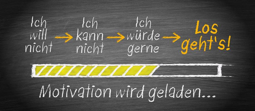 Motivation und Eigenmotivation, Ladebalken mit Text auf Kreidetafel, los gehts