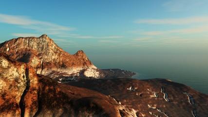 Volcanic island landscape, volcanic mountain shore,
