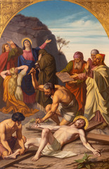 Wall Mural - PRAGUE, CZECH REPUBLIC - OCTOBER 15, 2018: The painting Jesus is nailed to the cross (cross way station) in church Bazilika svatého Petra a Pavla na Vyšehrade by František Čermák (1822 - 1884).