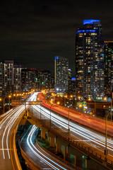 Toronto traffic night highway