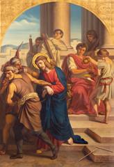 Fototapete - PRAGUE, CZECH REPUBLIC - OCTOBER 15, 2018: The painting of Jesus Jesus judgment for Pilate in church Bazilika svatého Petra a Pavla na Vyšehrade by František Čermák (1822 - 1884)