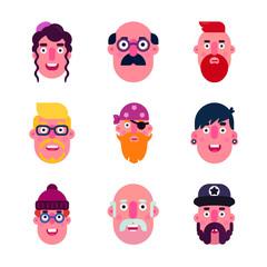 Foto op Plexiglas Uilen cartoon People Avatars Icon Set