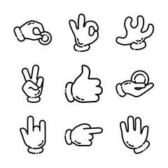 Cartoon Hand Gestures Icon Set