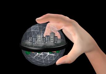Weltkugel zwischen zwei Fingern. Eine mit verschmutzter Umwelt die nach oben zeigt und mit einer sauberen Umwelt. 3d Render