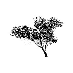 Green tree silhouette, handdrawn watercolor splashes, isolated on white background. Vector artistic illustration