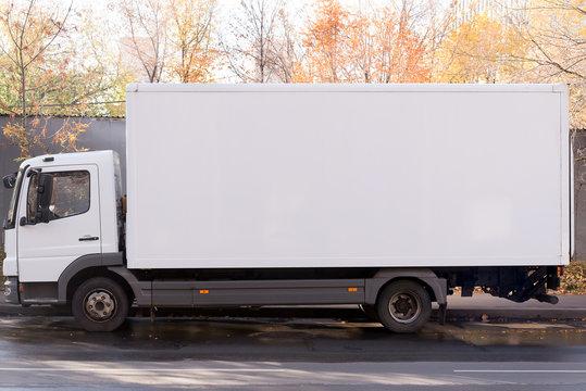 white long van side view