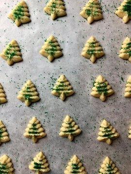 Spritz cookies on parchment paper