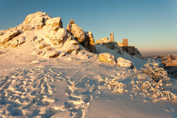 rocks and the ruins of the castle in Olsztyn in the winter, Jura Krakowsko Czestochowska region, Poland
