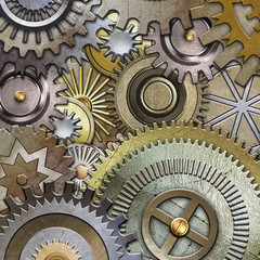 metallic gears background, 3D illustration