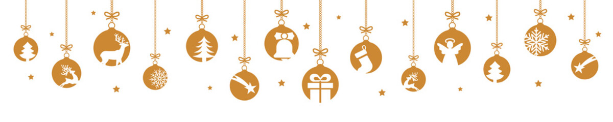 Banners from different Christmas balls. Christmas symbol icons hanging, Merry Christmas, Happy New Year – for stock