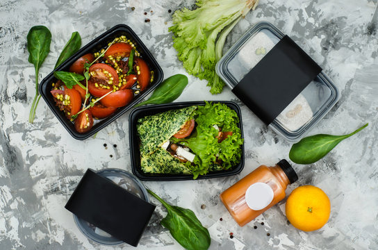 The menu of healthy food for the day. Smoothies, salads, pastries and soup in containers with space for logo. Food delivery for fitness diets. Place for text. Over view