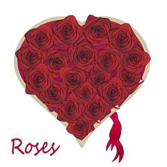 rose bouquet heart shaped top view illustration