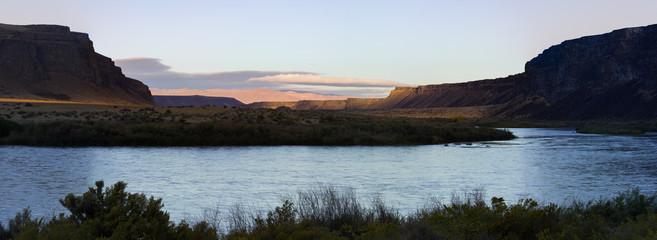 Swan Falls Idaho River planes in the Morning at Sunrise - Panorama