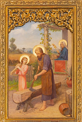 Wall Mural - PRAGUE, CZECH REPUBLIC - OCTOBER 12, 2018: The painting of Holy Family in church Bazilika svatého Petra a Pavla na Vyšehrade by S. G. Rudl (1895).