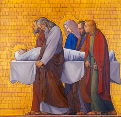 Fototapete - PRAGUE, CZECH REPUBLIC - OCTOBER 17, 2018: The painting of Burial of Jesus (cross way station) in the church kostel Svatého Cyrila Metodeje by  S. G. Rudl (1935).