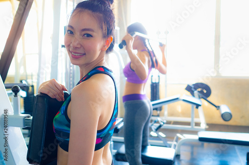 e26f44102 Beautiful portrait asian woman wear sport clothes have strong and muscle  with health, with exercise and workout for wellness in sport gym, strength  and fit ...