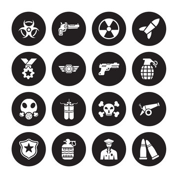 16 vector icon set : radiation, Veteran, Whizbang with Rong, Badge, Cannon, Two Bullets, Medal, Gas mask, Gun isolated on black background
