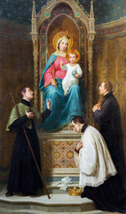 Wall Mural - MODENA, ITALY - APRIL 14, 2018: The painting of Madonna with the child among the jesuit saints in church Chiesa di San Bartolomeo from 19. cent.