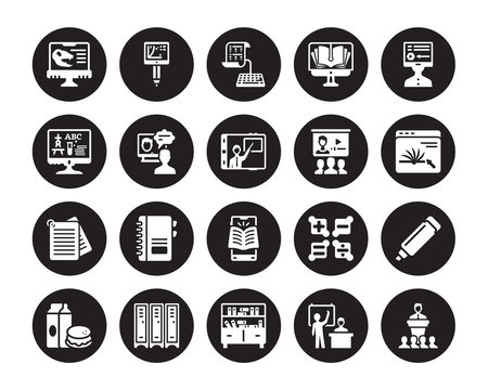 20 vector icon set : Paleontology, Lesson, Library, Lockers, Lunch, Online learning, class, mobile Notes, course, test isolated on black background
