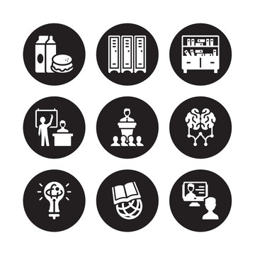 9 vector icon set : Lunch, Lockers, Knowledge, Learning, Lecture, Library, Lesson, International isolated on black background