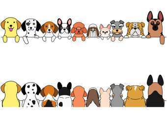 dogs border set, small and large dogs, front side and back side