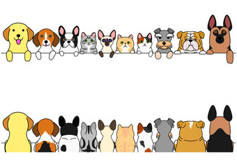 dogs and cats border set, front side and back side