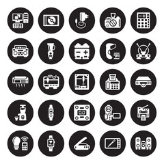 25 vector icon set : Computer, Graphic tablet, Scanner, Smartband, Smart light, Antenna, Fax Machine, Weighing, Cold-pressed juicer, Boombox, Charger, Compact disc isolated on black background.